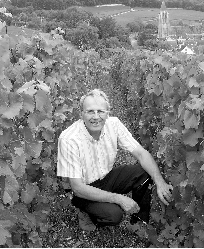 Vigneron Lebrun de Neuville dans vignoble Champagne